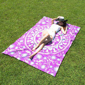 Passionate Arab Style Palm and Round Pattern Bikini Swimwear Purple Long Scarf