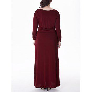 Plus Size Long Surplice Formal Dress with Sleeves - WINE RED 6XL