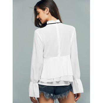 Flounce Ruffled Collar Long Sleeve Blouse - WHITE WHITE