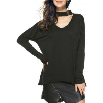 Long Sleeve Loose Hollow Out T-Shirt