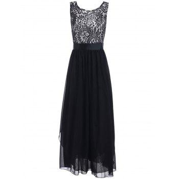 Sleeveless Lace Embroidery Pleated Dress
