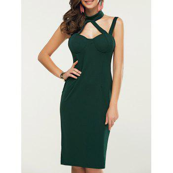Knee Length Hollow Out Sleeveless Dress