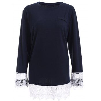 Oversized Long Sleeve Lace Splicing T-Shirt
