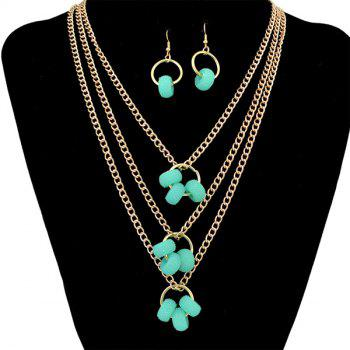 A Suit of Beads Pendant Layered Necklace and Earrings