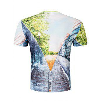 Short Sleeve Road Scenery 3D Print Tee - COLORMIX XL