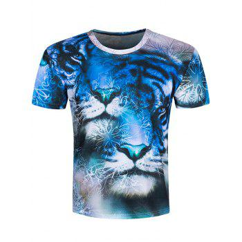 Short Sleeve 3D Tiger Printed Tee
