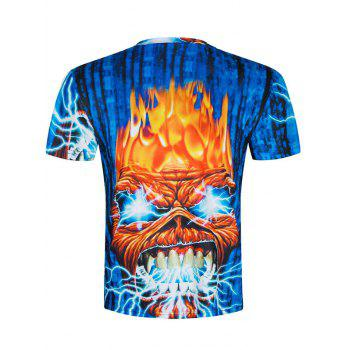 Short Sleeve Angry Skull 3D Printed Tee - BLUE 2XL