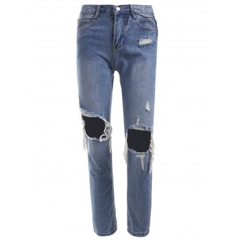 Knee Hole Fringed Ripped Jeans