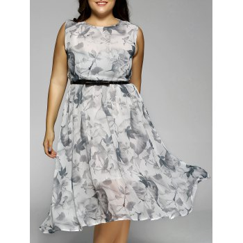 Plus Size Flowers Print Sleeveless Midi Dress