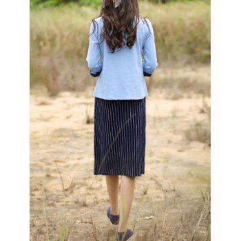 Retro Beaded Top and Striped Skirt Set For Women - LIGHT BLUE L
