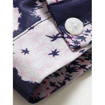 Dandelion Print Button Design Formal Shirt - DEEP BLUE 2XL