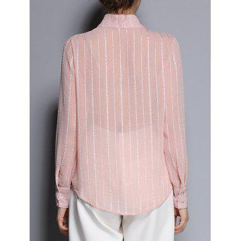 Shirt Collar See-Through Striped Pocket Design Shirt - PINK M