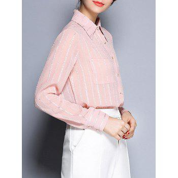 Shirt Col See-Through Striped Pocket design shirt - ROSE PÂLE M