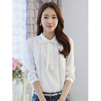 Bow Collar Long Sleeve Hollow Out Splicing Blouse - S S