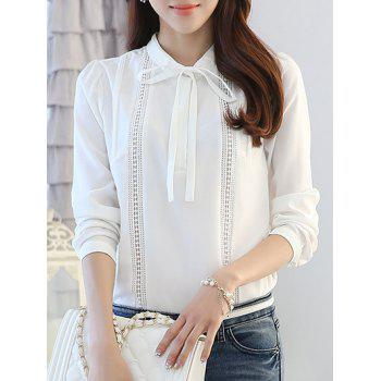 Bow Collar Long Sleeve Hollow Out Splicing Blouse - WHITE S