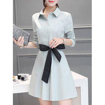 Shirt Collar Button Design Slimming Dress