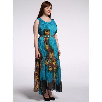 Plus Size Peacock Print Dress - PEACOCK BLUE 9XL
