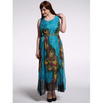 Plus Size Peacock Print Dress