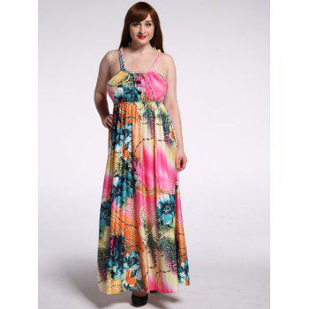 Plus Size U Neck Floral Print Maxi Beach Dress
