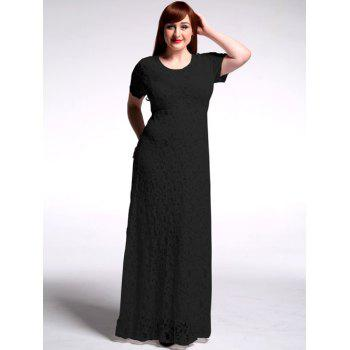 Plus Size High Waist Hollow Out Lace Maxi Prom Dress