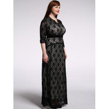 Plus Slze Lace Long Sleeve Maxi Formal Dress - Noir L