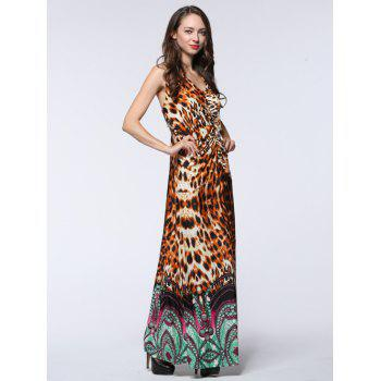 Halter Leopard Print Ruched Maxi Dress - Léopard 3XL