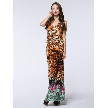 Halter Leopard Print Ruched Maxi Dress