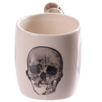 Ceramic Drinkware Coffee Skull Hand Shank Mug -  WHITE