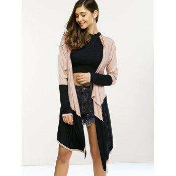 Long Sleeve Irregular Collarless Cardigan - BLACK XL
