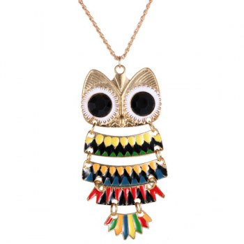 Owl Glaze Pendant Hollow Out Sweater Chain - BLACK BLACK