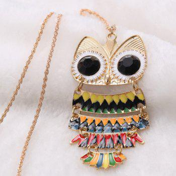 Owl Glaze Pendant Hollow Out Sweater Chain -  BLACK