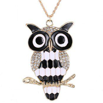 Rhinestone Glazed Owl Branch Pendant Sweater Chain