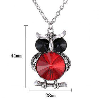 Faux Crystal Owl Sweater Chain -  RED