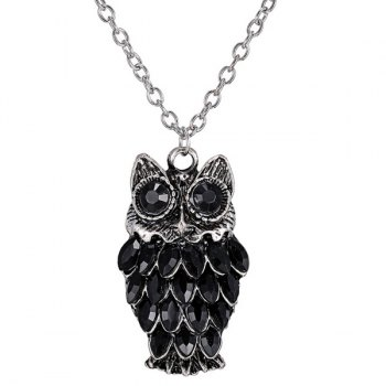 Rhinestoned Owl Alloy Pendant Sweater Chain - BLACK BLACK