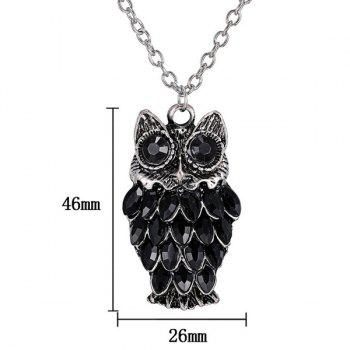 Rhinestoned Owl Alloy Pendant Sweater Chain -  BLACK