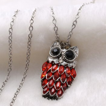 Pendentif Pull Rhinestoned Owl Alloy Chain - Rouge