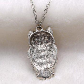 Rhinestoned Owl Alloy Pendant Sweater Chain - RED