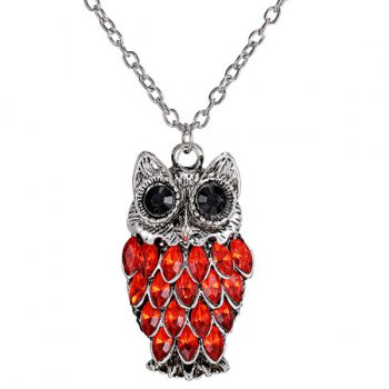 Rhinestoned Owl Alloy Pendant Sweater Chain