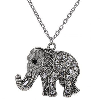 Rhinestoned Elephant Engraved Pendant Sweater Chain - SILVER SILVER