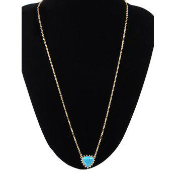 Faux Turquoise Triangle Pendant Sweater Chain -  GOLDEN