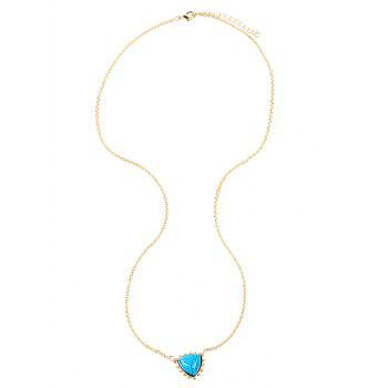 Faux Turquoise Triangle Pendant Sweater Chain - GOLDEN GOLDEN