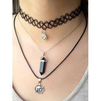Alloy Faux Obsidian Taiji Sun Pendant Necklaces