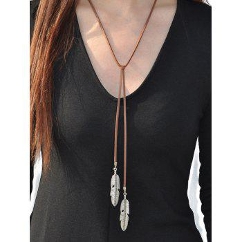 Faux Leather Alloy Leaf Necklace