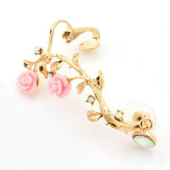ONE PIECE Rhinestone Floral Feuille d'oreille - Or