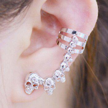 Pair of Skull Rhinestone Ear Cuffs