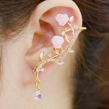 ONE PIECE Rhinestone Floral Feuille d'oreille