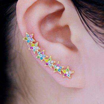 Pair of Rhinestoned Alloy Star Earrings