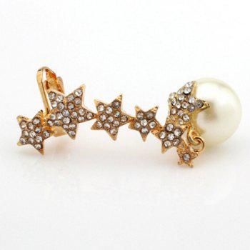 ONE PIECE strass étoile Faux Perle d'oreille - Or
