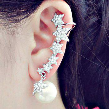 ONE PIECE Rhinestone Star Faux Pearl Ear Cuff