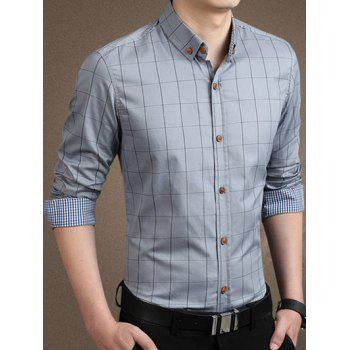 Plaid à manches longues Casual Shirt Button-Down - Gris 3XL